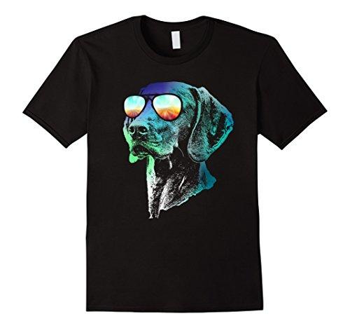 Mens Vizsla Neon Dog Shirt Small Black