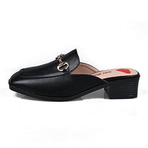 Color Grueso Encabezado Con En Zapatillas Áspero El De Zapatos Zapatos Sólido 5Cm Para De Tacón Verano GAOLIM 3 Hembra Un Zapatos Cool Zapatillas Mujer Los Mitad De Aum Negro Mujer Con Zapatillas Con Alto a4gIqU