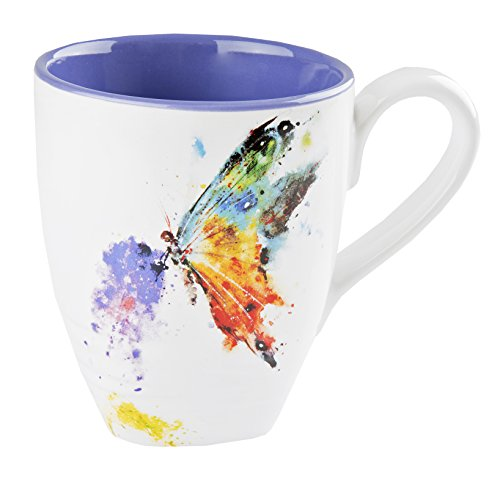 Big Sky Carvers Kaleidoscope Butterfly Mug  Featuring Artwork by Oregon Watercolor Painter Dean Crouser  Glazed Stoneware with Pure White Background  Holds 16 Ounces