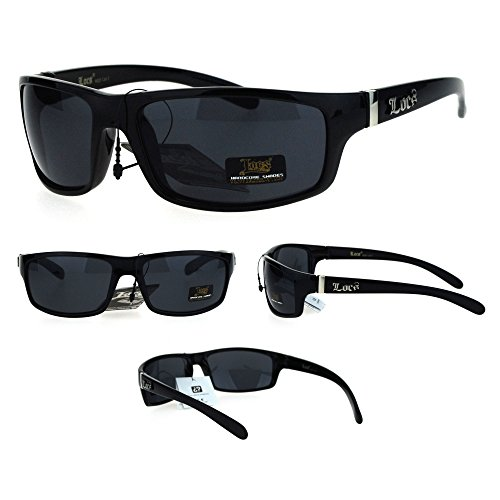 All Black Locs Rectangular Cholo Gangster Mad Dog Plastic - Mad Dog Glasses