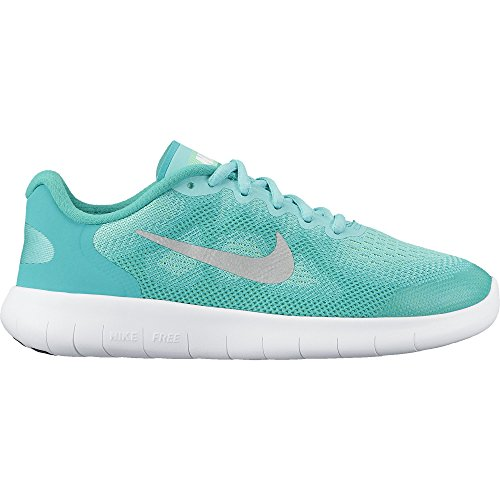 Nike Girl's Free RN 2017 (GS) Running Shoe Aurora Green/Metallic Silver/Clear Jade Size 4 M US by NIKE
