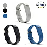 Hotodeal Replacement Bands for Fitbit Flex - Fashion Adjustable Silicone Sport Wristband with Chrome Clasp and Fastener Buckle - Prevent Tracker Falling Off - Comfortable - Pack of 3 (Black+Blue+Grey)