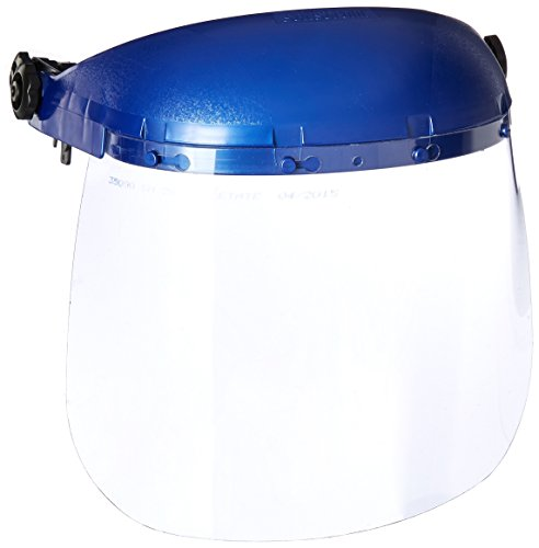 Sellstrom Single Crown Safety Face Shield with Universal Hard Hat Slot Adapter, Clear Tint, Uncoated, Blue, S39210