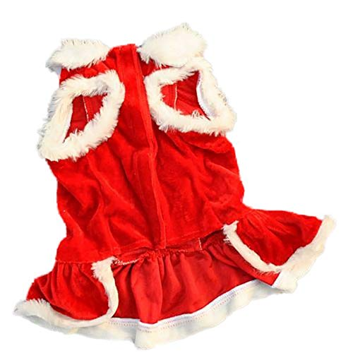Ollypet Dog Christmas Costume for Small Dogs Girl Pet Dress for Holiday Puppy Cat Winter Clothes (S)