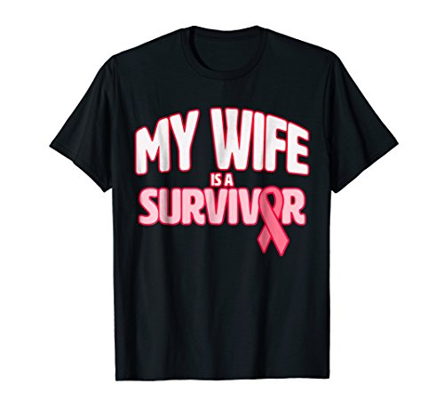 - Mens My Wife is a Survivor - Breast Cancer Awareness T-Shirt XL Black
