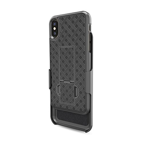 iPhone X Case, Moona Shell Holster Combo Case for Apple iPhone X with KickStand & Belt Clip '2 Year Warranty' - iPhone 10 Belt Clip Case Thin Holster Photo #2