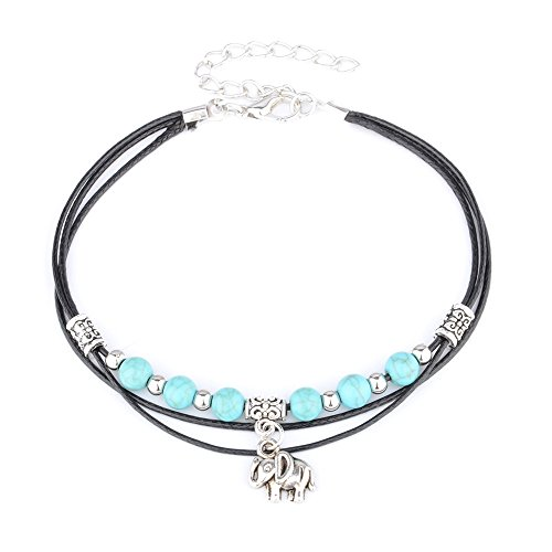 UHANGETH Turquoise Beaded Layering Armlet Bracelet Anklet Chain Beach Foot Jewelry For Women (Tassel (Elephant Anklet)