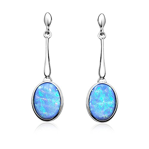 Paul Wright Created Opal Dangle Earrings in 925 Sterling Silver, 10x8mm Oval, Vibrant Blue Color, on Posts ()