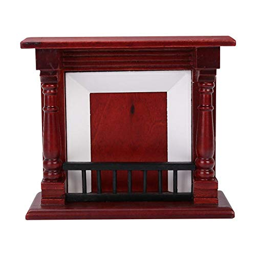 Zerodis Dollhouse Mini Fireplace, 1:12 Dollhouse Decoration Furniture Rose Wood Mini Fireplace Furniture Ornament Decor Toys for Kids ()