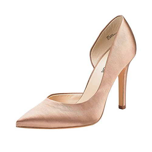 JENN ARDOR Stiletto High Heel Shoes for Women: Pointed, Closed Toe Classic Slip On Dress Pumps-Silk Nude 10 B(M) US ()