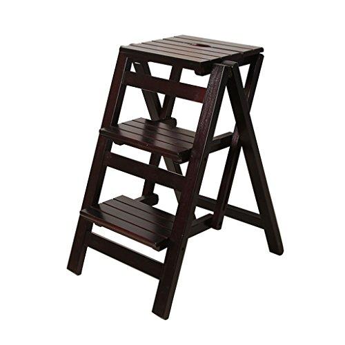 Indoor Mobile Climb Ladder Solid Wood Household Ladder Multifunctional Ladder Household Racks Triple Folding Ladder Desk Folding Storage Rack (Color : Black, Size : 664256cm)