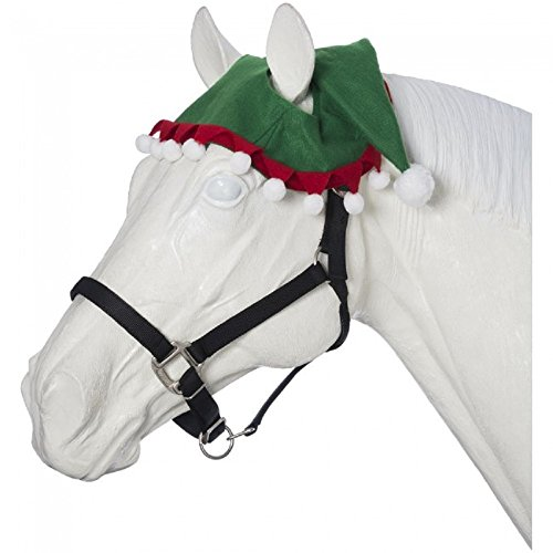 Tough 1 Holiday Horse Wear Red Green Felt Horse Two Ear ELF HAT White Pompoms Costume (Elf Horse Costume)
