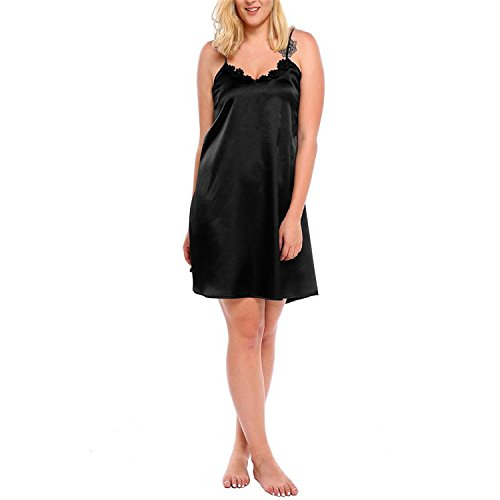 Plus Size XL-5XL Women Sleepwear Dress Sexy Lingerie Robe Spaghetti Strap Lace Satin Large Chemises Nightgown Big Size Black (Regal Lace Robe)