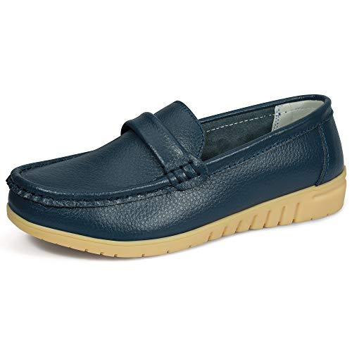 labato Women's Leather Loafers Casual Round Toe Slip-on Shoes Moccasins Driving Flats Shoes(9M(US),Navy) (Cowhide Moccasins Leather)