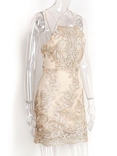 Sangle Licou Moulante En Maille Dentelle L'or Mini-robe Des Femmes Simplee Vêtements