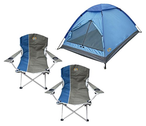 Alpinizmo High Peak USA Monodome 3 Tent + 2 Quad Folding Camp Chairs Combo Set, Regular, Blue by Alpinizmo