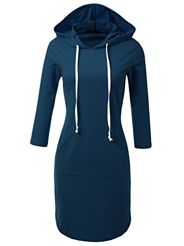 - JayJay Casual Active V-Neck Pullover Lightweight Jersey Long Sleeve Hoodie Midi Dress with Kangaroo Pocket,SAILORBLUE,2XL