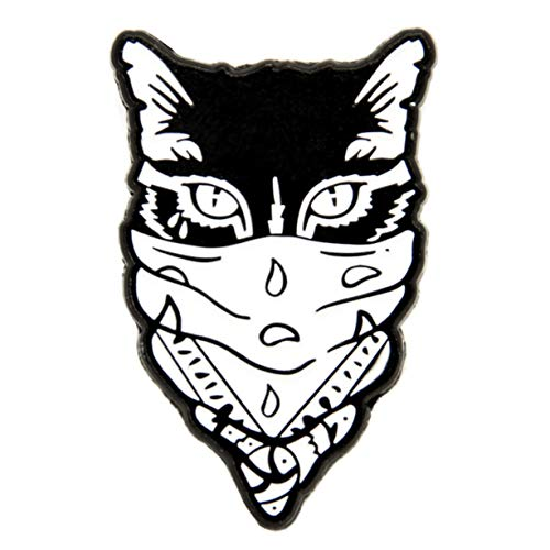 Ectogasm 100102 Gangster Cat Enamel Pin Black and White ()
