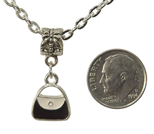 ViciBeads Pendant, Black and White Enamel Purse Pendant + Free Chain Bag