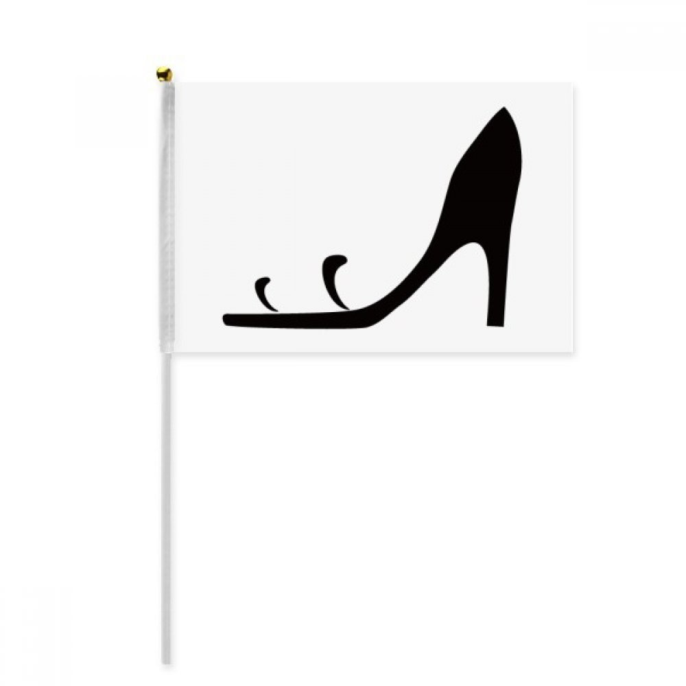 Black High Heels Simple Graphics Silhouette Hand Waving Flag 8x5 inch Polyester Sport Event Procession Parade 4pcs by beatChong (Image #3)