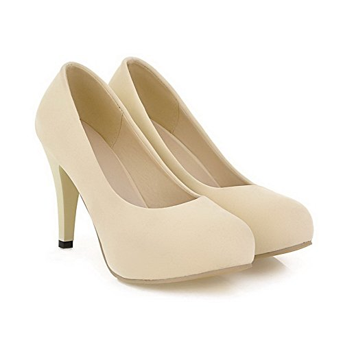 Toe Closed Pumps Women's Beige 35 Heels Shoes High WeiPoot PU Round Solid U6BUqp