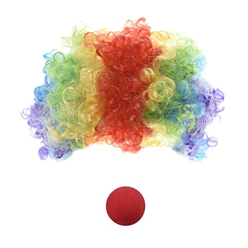 Bozo The Clown Wig (Beautyflier Multi-Color Clown Wig and Clown Nose for Costume Accessory)