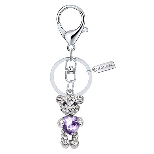 Teddy Bear Design Keychain (Bling Bling Crystal Teddy Bear with Purple Heart Design Keychain Key Ring Creative Packaging Design Box MZ824-3)