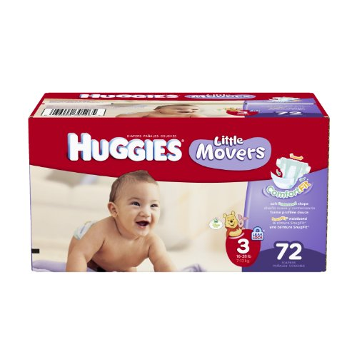 Huggies Little Movers Diapers, Size 3, Big Pack, 72 Count (packaging may vary)