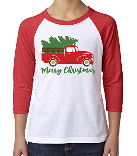 Toddler, Youth, Baby Christmas Shirt - Truck 3/4 Red Sleeve Tshirt - 4T ()