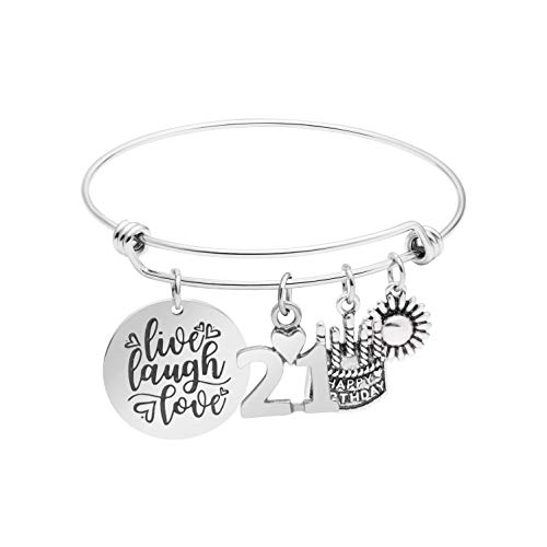 Awegift 21th Birthday Gifts for Women Girls Live Laugh Love Cake Charms Stainless Steel Bracelet Gift Jewelry for Her