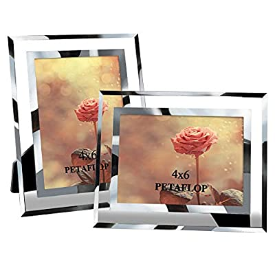 PETAFLOP 4x6 Picture Frame Perfect for Wedding, Offices, Restaurants, Business, Pack 2 - Modern design 4x6 picture frames Modern real glass photo picture frame go with any decor well Each picture frame holds a 4x6 inch photography without mat - picture-frames, bedroom-decor, bedroom - 412gDedVkDL. SS400  -