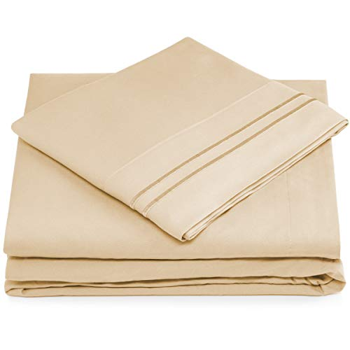 Split King Bed Sheets - Cream Luxury Sheet Set - Deep Pocket - Super Soft Hotel Bedding - Cool & Wrinkle Free - 2 Fitted, 1 Flat, 2 Pillow Cases - Beige SplitKing Sheets - 5 Piece - Super Pillow Top Set
