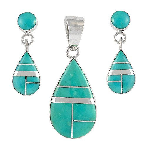 Matching Pendant & Earrings Set in Sterling Silver 925 & Genuine Turquoise (Turquoise)