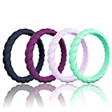 Mokani Silicone Wedding Ring for Women, Thin and Braided Rubber Band, Fashion, Colorful, Comfortable fit, Skin Safe, 4 Pack - Light Purple, Dark Blue, Light Mint Green, Plum