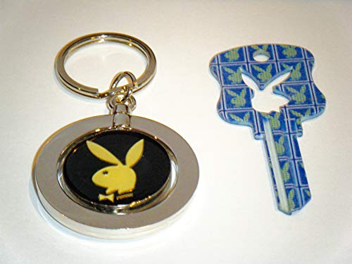Playboy BUNNY Key Kwikset KW1 Uncut Blank Blue-Green Bunny House Key With Playboy Key Chain