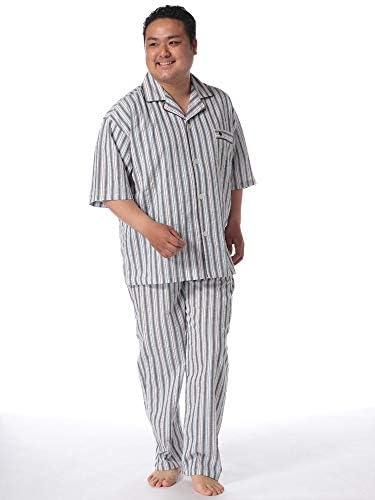 サカゼン POLO BCS 大きいサイズ メンズ 綿100% 先染めサッカー ストライプ 半袖シャツ 長ズボン パジャマ