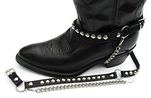 - Biker Boots Boot Chains Black Leather with Round Silver Studs