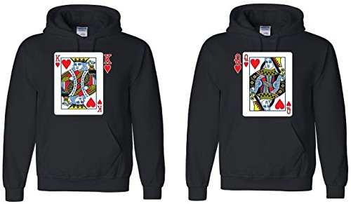 Couple Hoodie - King & Queen Playing Cards - Matching His and Her Sweaters