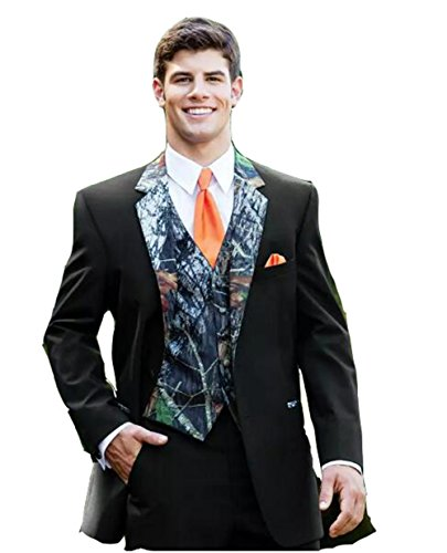 Brightmenyouth New Camouflage Mens Wedding Suits Unique One Button Tuxedos Camo Notched Lapel Groom Wear Prom Suits for Men (Jacket+Pants+Vest)(L) -