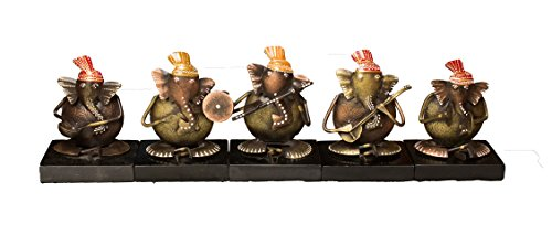 Papier Mache Bell (Crafticia Wrought Iron Ganesha Musician Set Indian Antique Pink City Traditional Handmade Handicraft Gift Item Home Decor Metal Musical Showpiece / Figurine)