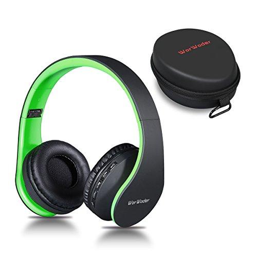 Bluetooth Kopfhörer Over Ear,Kabellose Headset Stereo Wireless Bluetooth- Kopfhörer mit Mikrofon Klappbares Design für Android, PC und Andere Bluetooth by WorWoder(schwarz - grün)