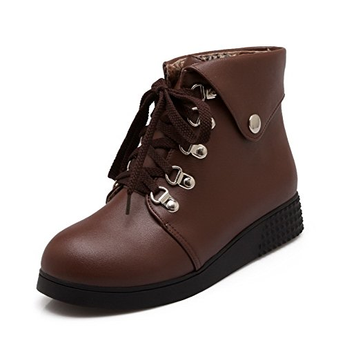 AgooLar Women's Low-Heels Soft Material Low-top Solid Lace-up Boots Brown