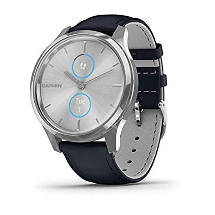 Garmin vívomove Luxe, Hybrid Smartwatch with Real Watch Hands and Hidden Color Touchscreen Displays, Silver with Navy Leather Band