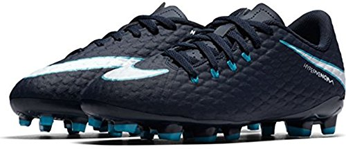 Nike Unisex-Kinder Jr Hypervenom Phelon III FG Fußballschuhe Blau (Obsidian/Gamma Blue/Glacier Blue/White 414)