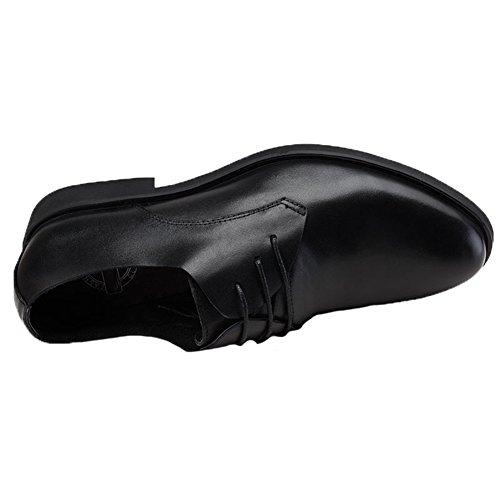 Santimon Mens Oxford Cuir Classique Solide Formel Lacer Robe Chaussures Noir