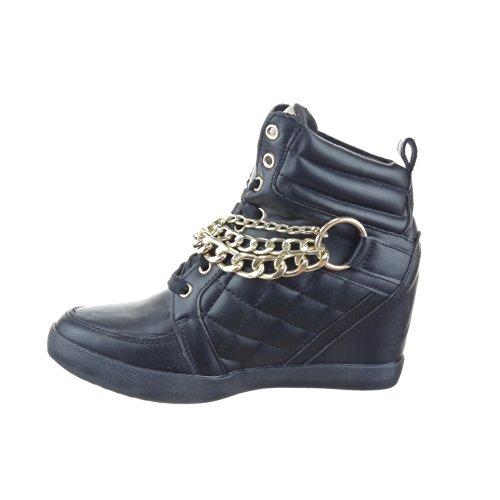 Sopily - Scarpe da Moda Sneaker Zeppa alla caviglia donna trapuntata Tacco zeppa 8 CM - soletta tessuto - Nero