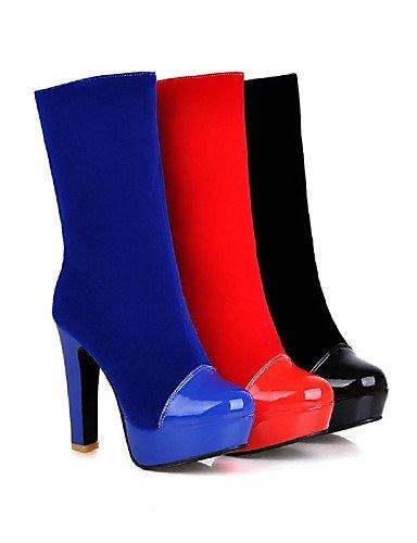 La De Eu35 Cn34 Mujer Azul Cuero Tacón Blue 5 us10 5 Patentado Botas Moda Vellón Robusto Uk3 Zapatos Cn43 Rojo Eu42 Red Punta Vestido Royal Xzz Uk8 negro us5 Redonda A zAfw5F