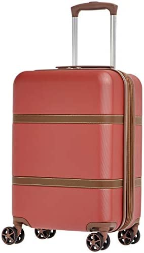 Amazon Basics Vienna Carry-On Spinner Suitcase Luggage - Expandable with Wheels - 21.6 Inch, Red