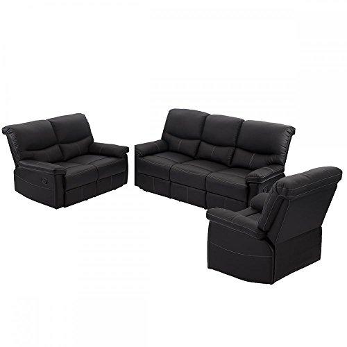 3 PCS Motion Sofa Loveseat Recliner Sofa Set Living Room Bonded Leather Furniture