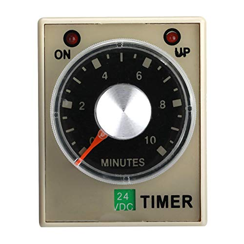24VDC Delay Timer Time Relay,6/10/30/60 Minutes Power Delay Timer AH3-3 High Accuracy General Purpose Relay (10m)
